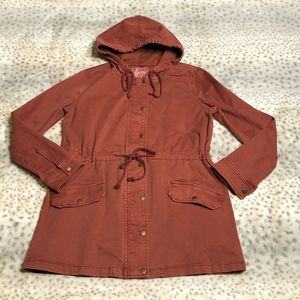 Lucky Brand Hooded Utility Jacket Size Small Rust